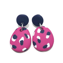 Load image into Gallery viewer, Dangle Janes - Pink + Navy & White Spot (Made to order)