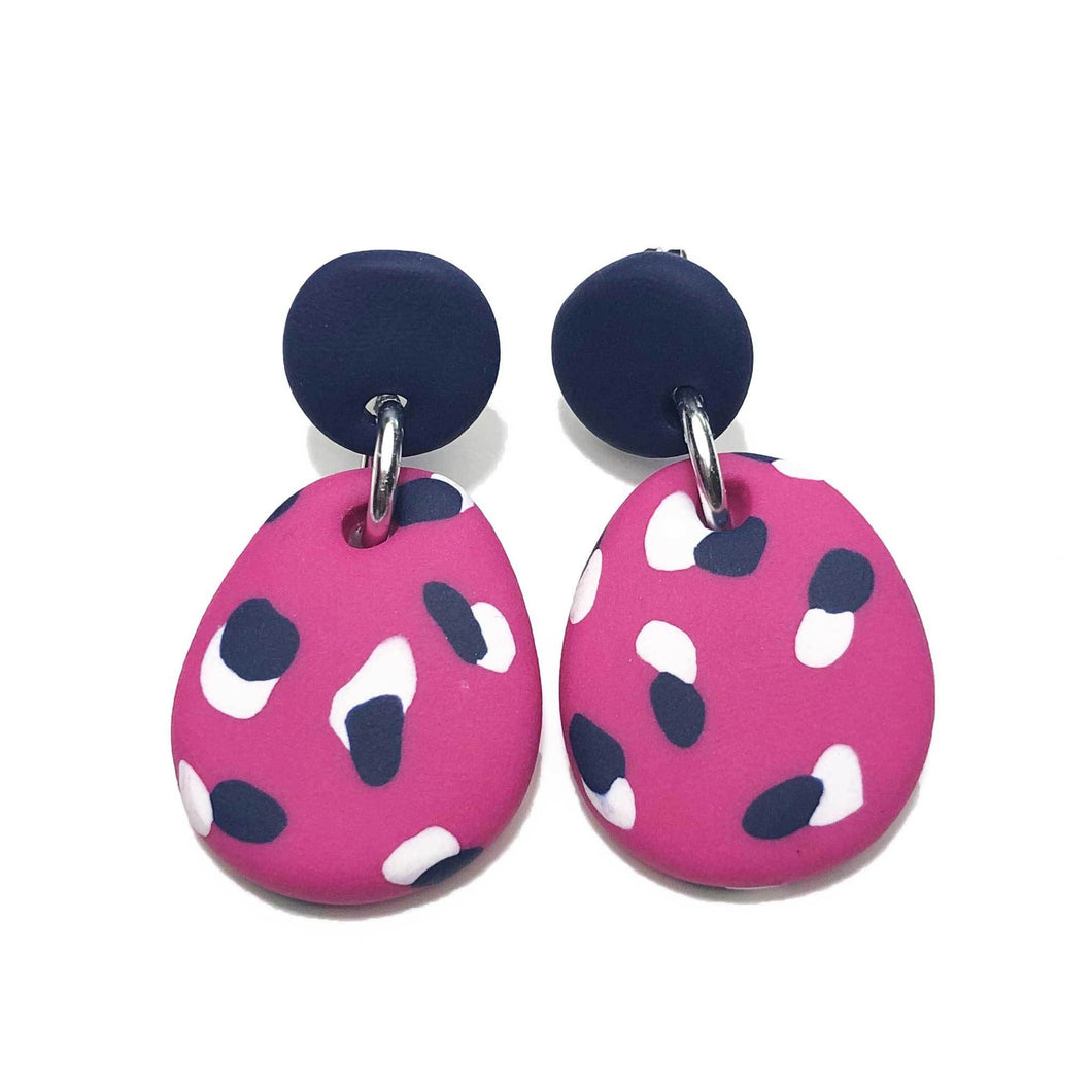 Dangle Janes - Pink + Navy & White Spot (Made to order)