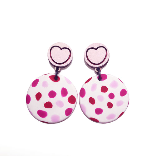 Plain Jane & Co. x For The Love Of Vintage - 'Pink Heart' - Polymer Clay + Plywood Earrings