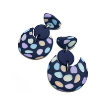 Load image into Gallery viewer, Dangle Janes - Navy + Pastel Spots (Made to order)
