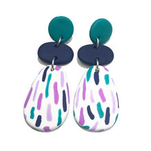 Load image into Gallery viewer, Dangle Janes - Teal + Navy + White Stripe (Made to order).