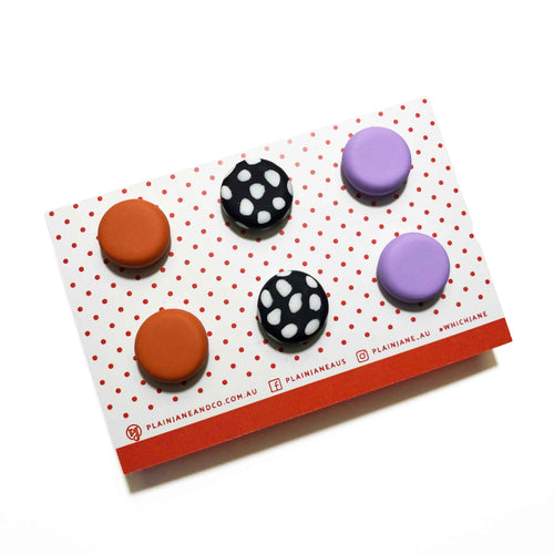 Plain Jane Stud Packs - Pumpkin, B&W Spot, Lilac