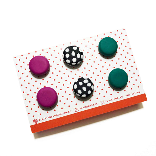 Plain Jane Stud Packs - Ultraviolet, B&W Spot + Emerald Green