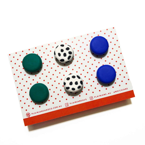 Plain Jane Stud Packs - Emerald Green, White & Black Spot + Electric Blue