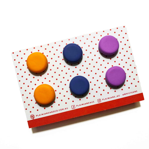 Plain Jane Stud Packs - Orange, Lavender + Purple