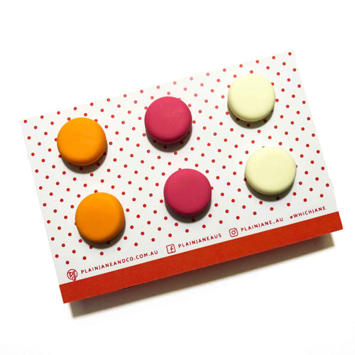 Plain Jane Stud Packs - Orange, Pink + Lemon