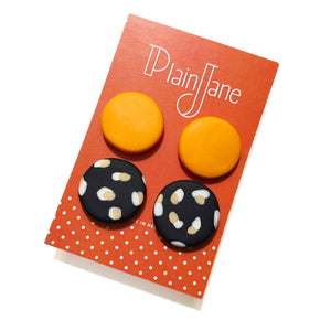 Large Stud Pack - Orange & Black + White & Peach Spot.