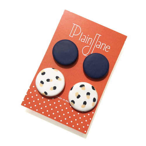 Large Stud Pack - Navy & White + Black & Peach Spot.