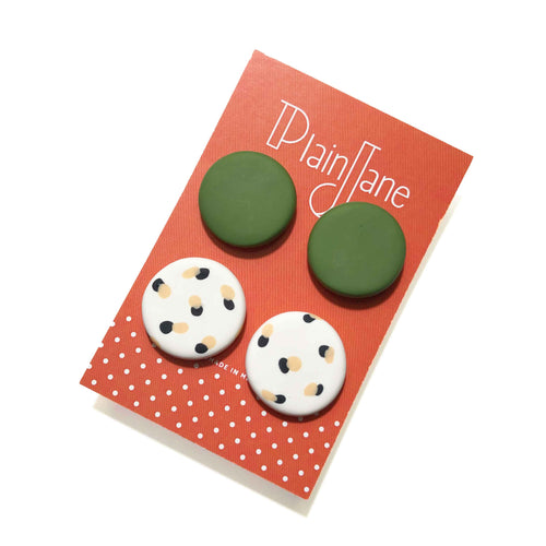 Large Stud Pack - Olive & White + Black & Peach Spot.