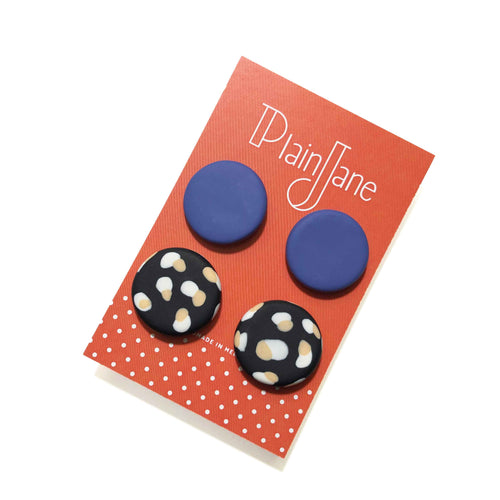 Large Stud Pack - Lavender & Black + White & Peach Spot.