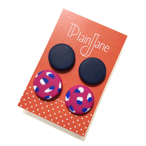 Large Stud Pack - Navy & Pink + White & Electric Blue Spot.