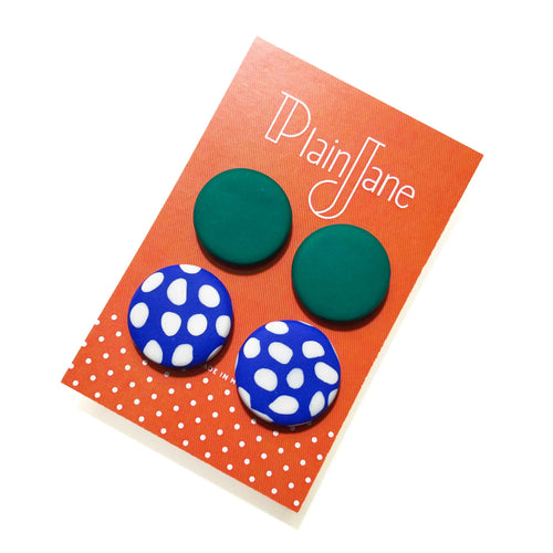 Large Stud Pack - Emerald Green & Electric Blue + White Spot.