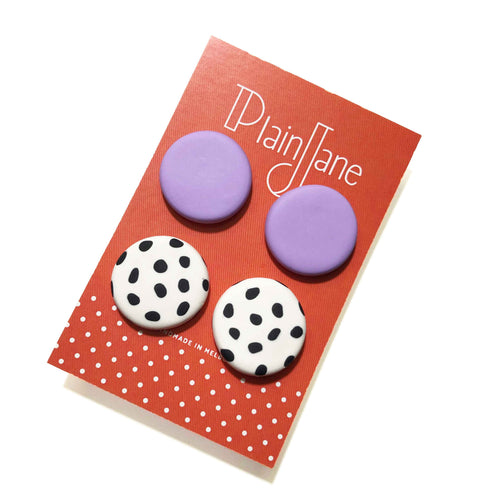 Large Stud Pack - Lilac & White + Black Spot.