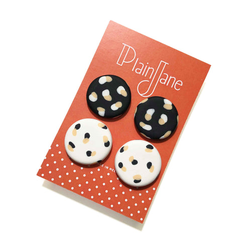 Large Stud Pack - Black & White Spotty Janes