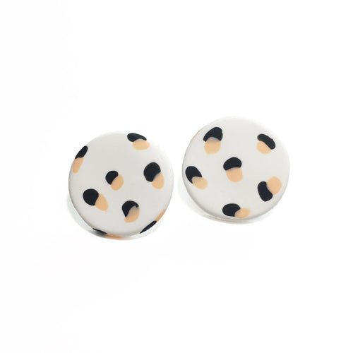 Spotty Janes - White + Black & Peach Spot