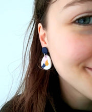 Load image into Gallery viewer, Dangle Janes - Smudge Edit - Navy + White, Pink & Mustard. (Made to order)