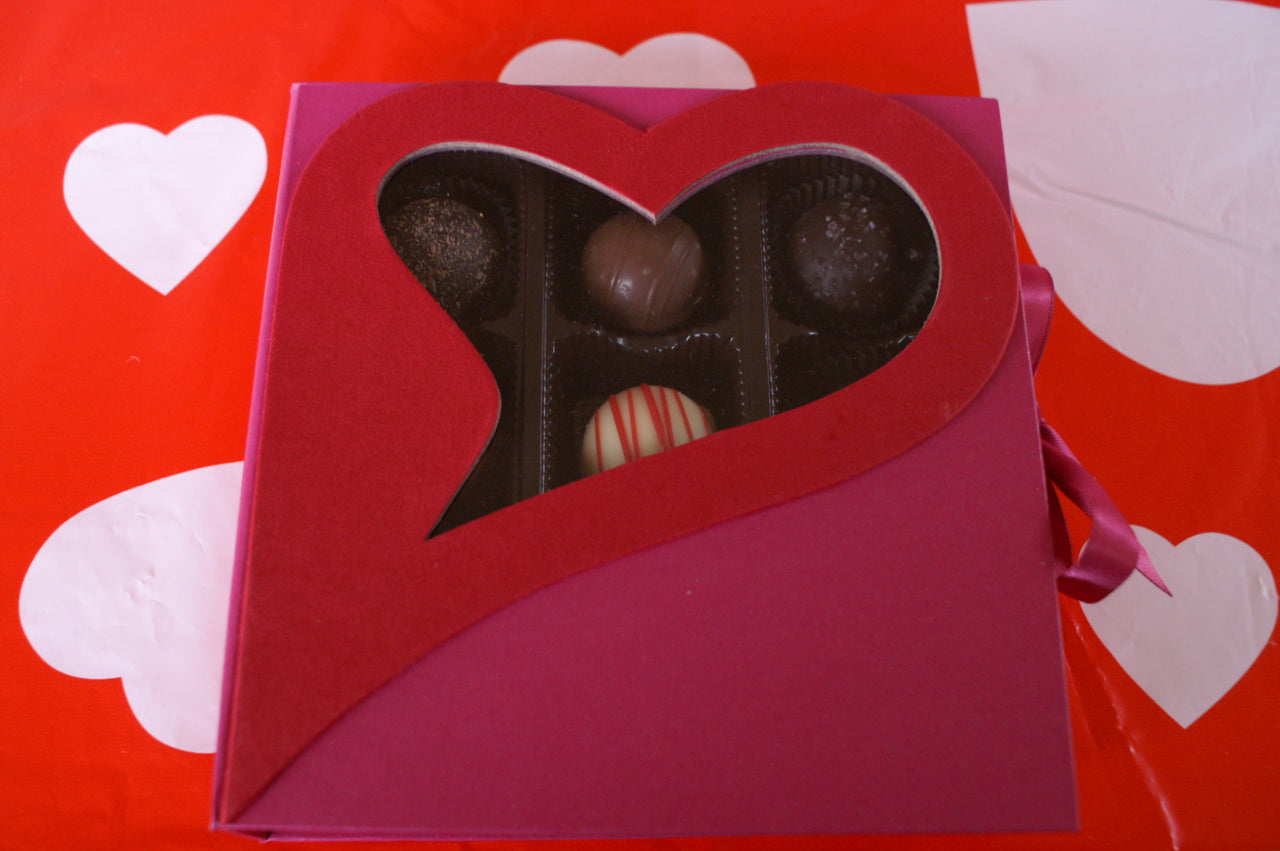 9 Piece See-thru truffle Heart Box