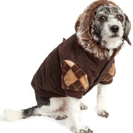 Designer Patterned Suede Argyle Sweater Pet Jacket