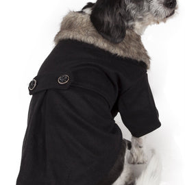 Buttoned 'Coast-Guard' Fashion Faux-Fur Collared Wool Pet Coat