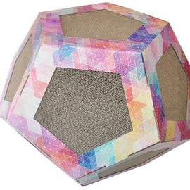 Pet Life Octagon Ultra Premium Collapsible Puzzle Pet Cat Scratcher Toy And House
