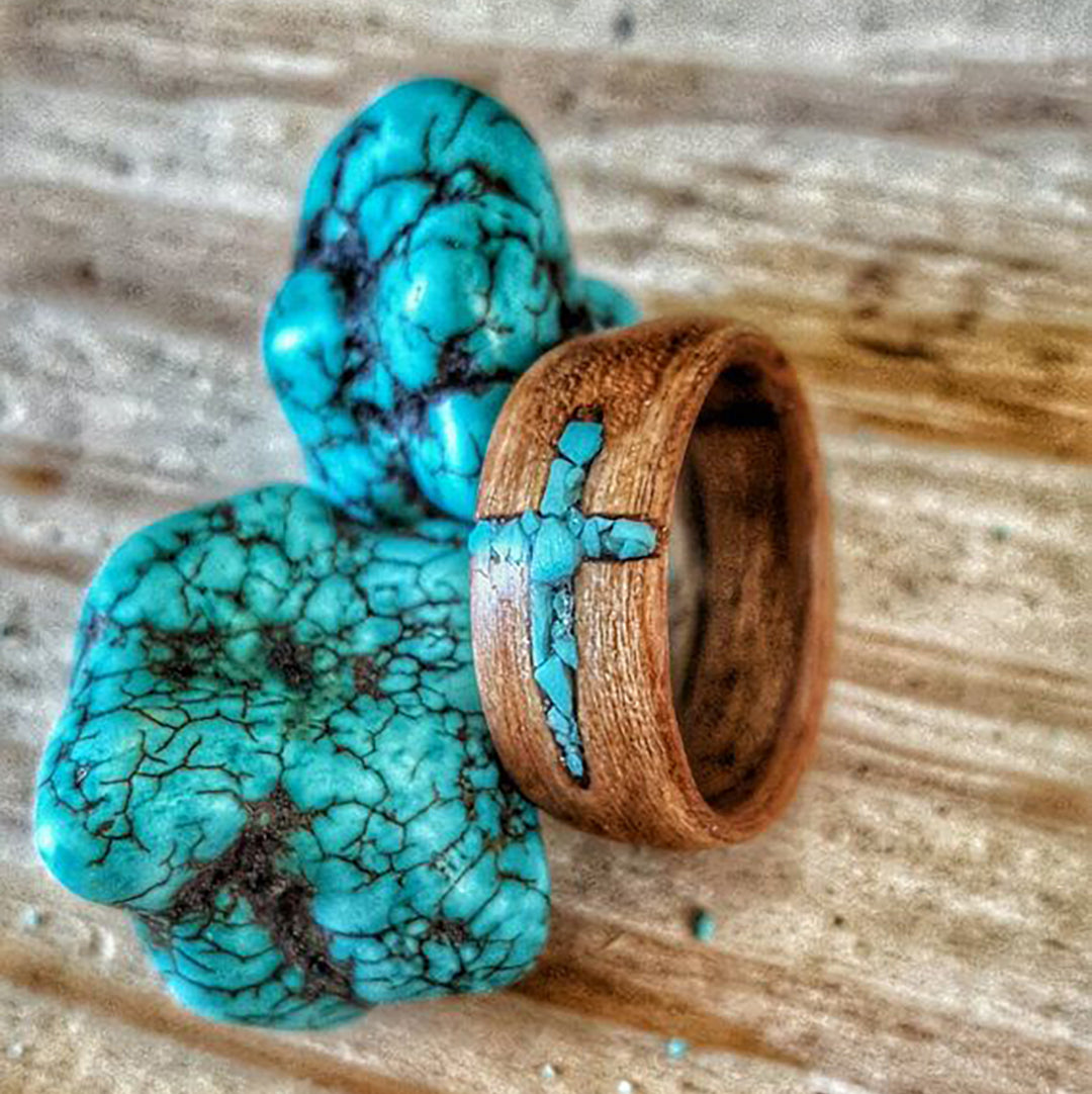 Turquoise Cross Inlay Ring