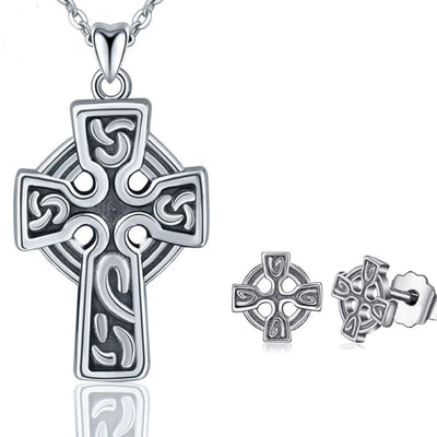 Pewter Celtic Inspired Cross & Earring Set