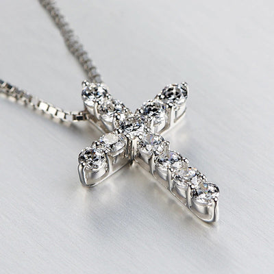 11 Gem Cross Necklace