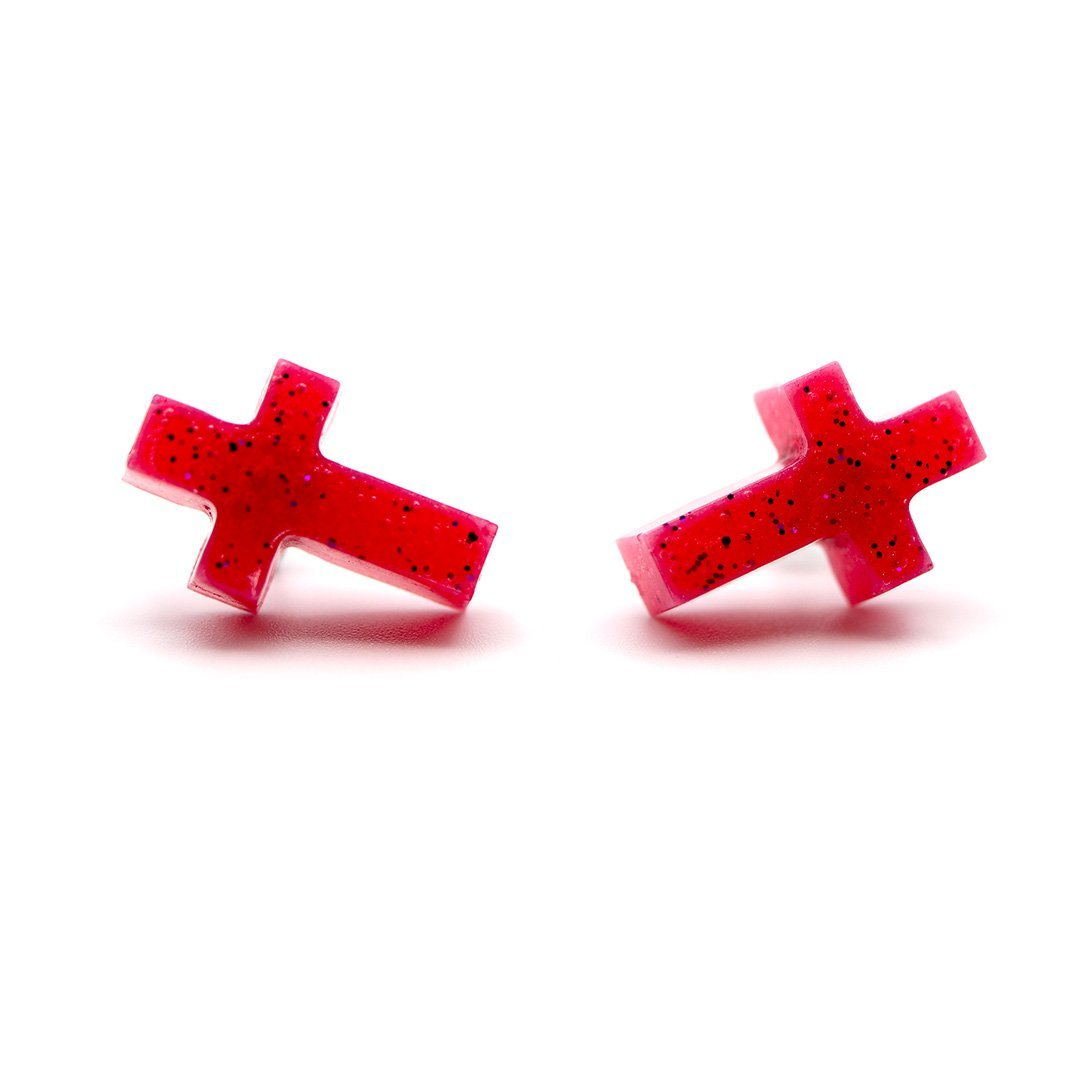 Cross Earrings - Watermelon