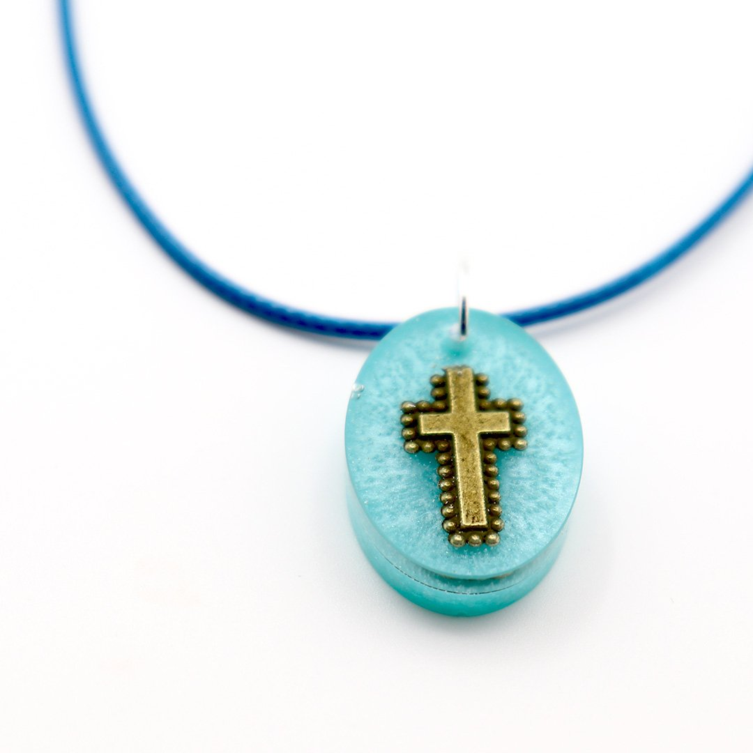 Oval Turquoise Floating Cross - Handmade
