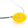 Oval Canary Floating Cross - Handmade
