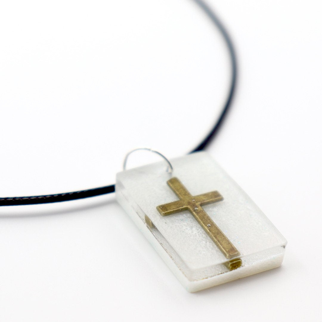 Rectangle White Floating Cross - Handmade