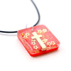 Square Red & Gold Floating Cross - Handmade