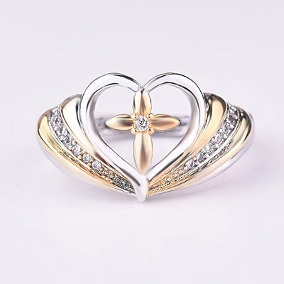 Matthew 19:26 Cross & Heart Ring
