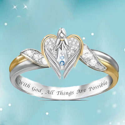 Praying Angel & Heart Ring