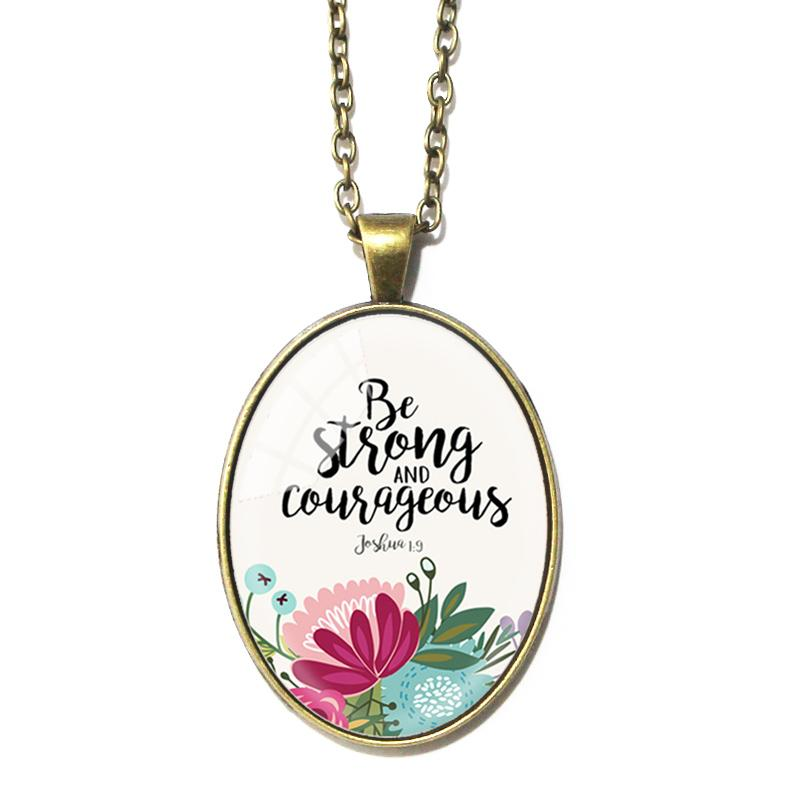 Be Strong and Courageous Oval Pendant