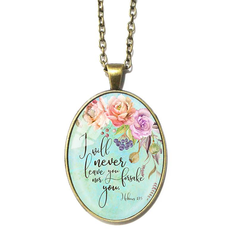 Hebrews 13:5 Oval Pendant