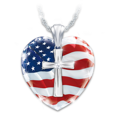 God Bless America Heart & Cross Pendant