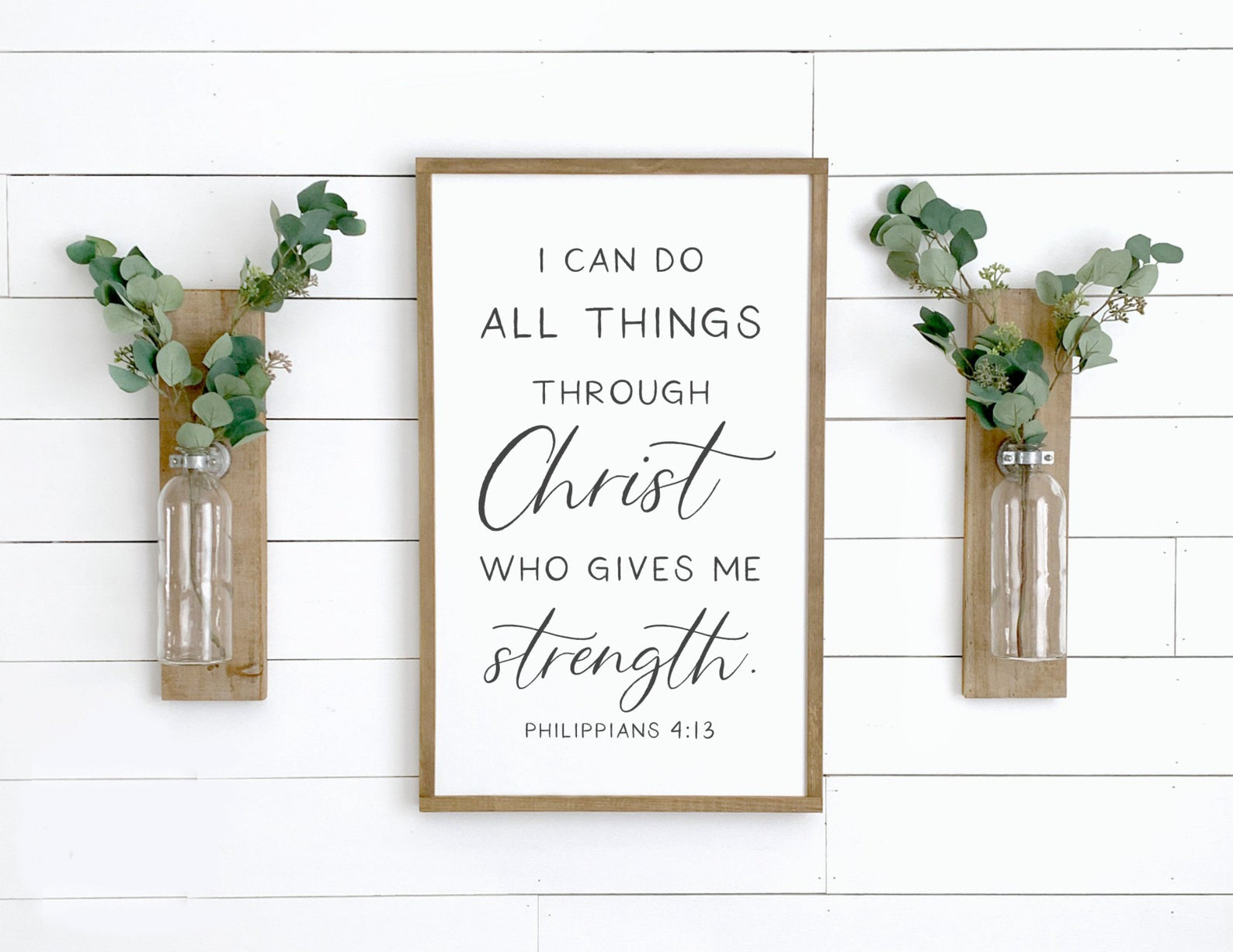 I Can Do All Things Through Christ Philippians 4:13 Framed Wood Sign Farmhouse Style
