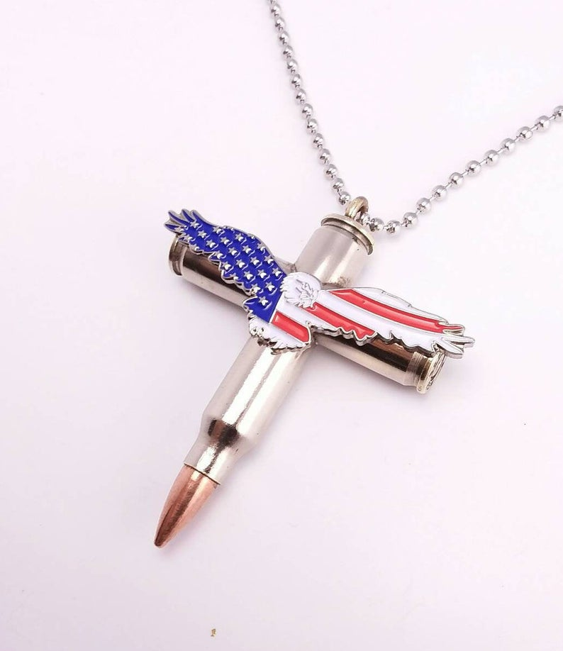 Ammo Cross Necklace - Bald Eagle