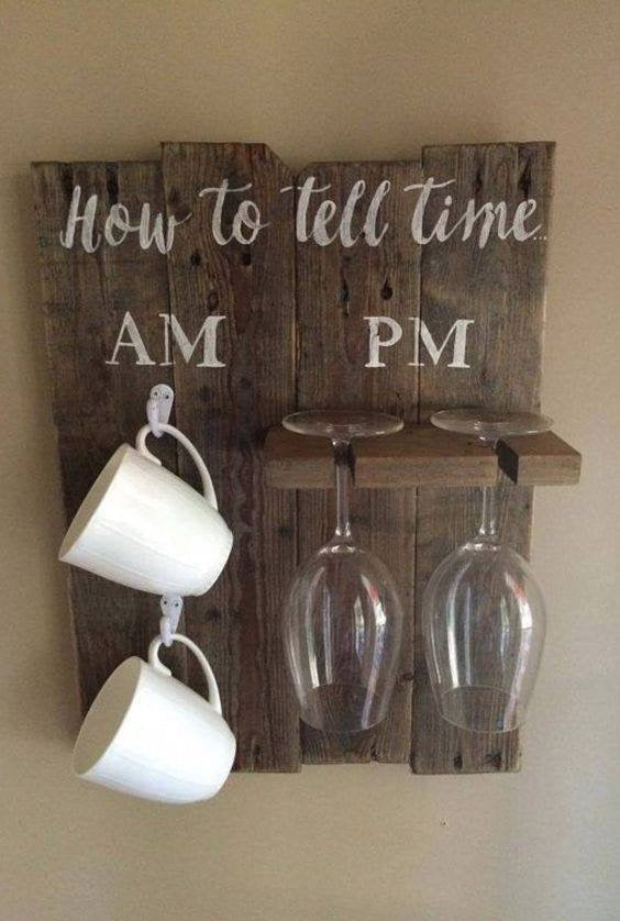 How To Tell Time Coffee/Wine Glass Holder Sign