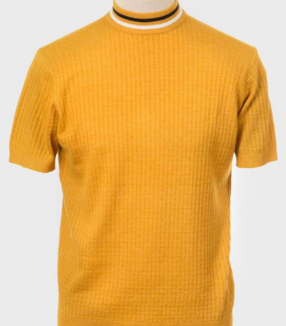 Art Gallery Short Sleeve Knitted Turtle Neck. Style: Nolan Mustard