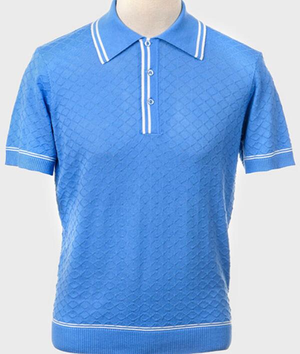 Art Gallery Short Sleeve Knitted Polo Style: McGriff Sky Blue