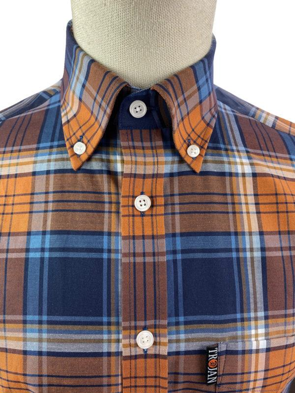 Trojan Button Down Shirt. Tan