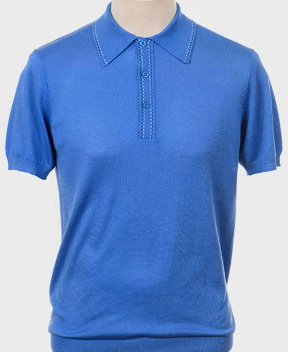 Art Gallery Short Sleeve Knitted Polo. Style: Byrd Blue