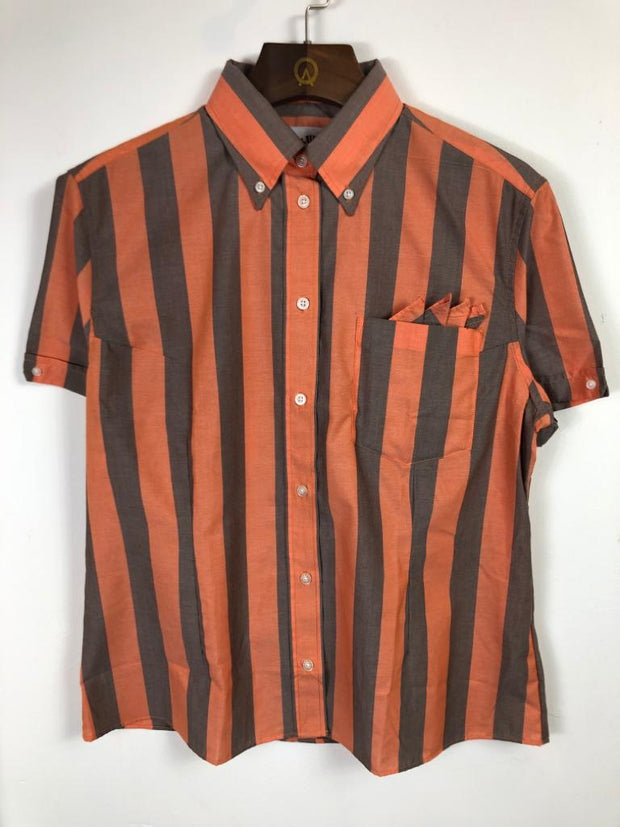 Brutus - Womans Brutus Trimfit Orange/Cocoa Brown Button Down Shirt - Rat Race Margate