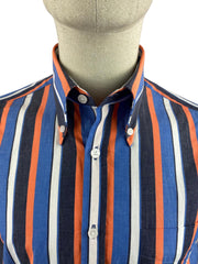Ska & Soul Short Sleeve Spear-Point Stripe Button Down Shirt. Navy