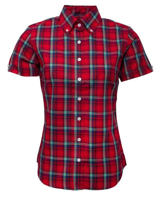 Relco - Womans Button Down Shirt. Red - Rat Race Margate