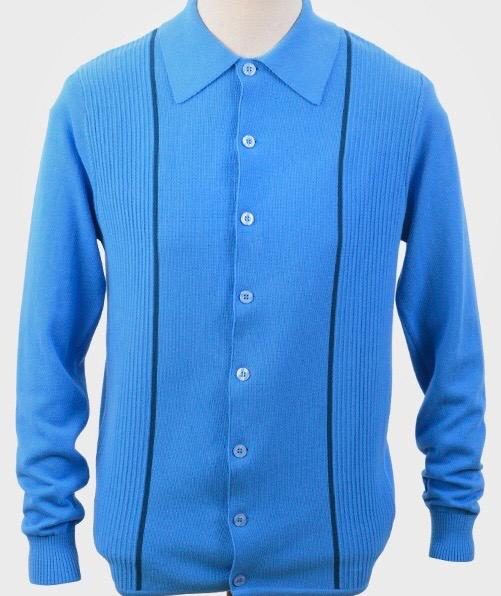 Art Gallery Mittoo Knitted Collared Cardigan, Ibiza Blue