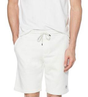 Penguin Fleece Jogger Shorts. Light Grey Melange