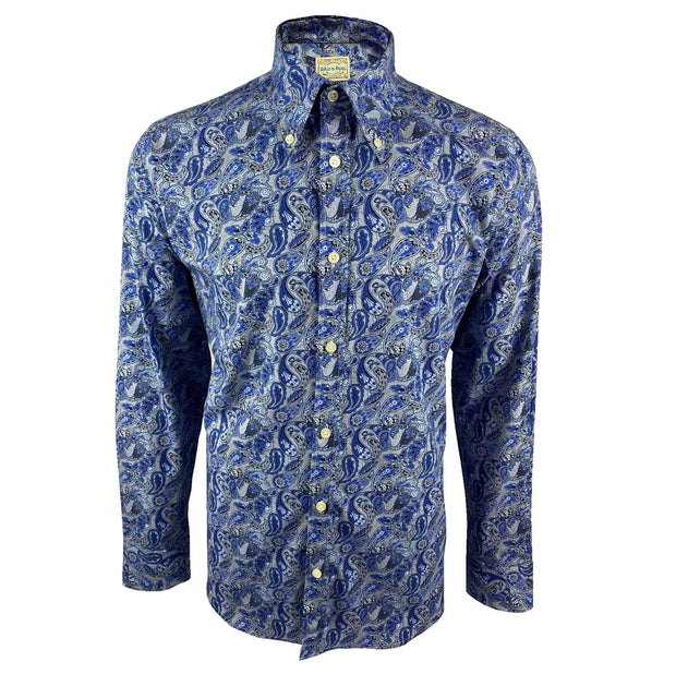 Ska & Soul Spear Point Paisley Button-Down. Blue
